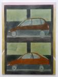 Autohaus, 140 x 120 cm, 2014 | Acrylfarbe auf Nessel